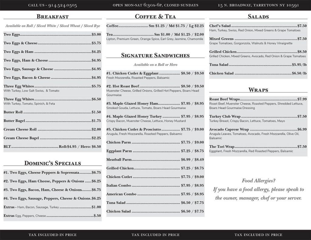 Dom's Deli trifold menu back