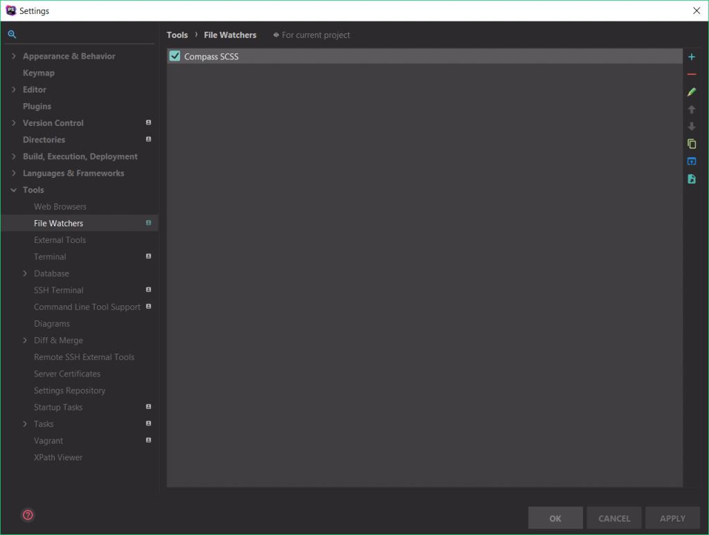 File Watcher window in PhpStorm